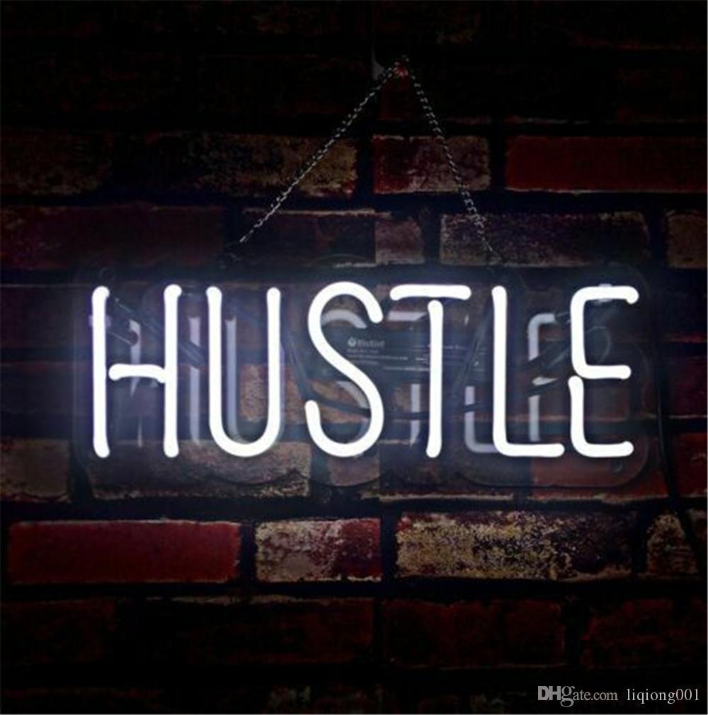 새로운 스타 네온 사인 공장 맥주 바 Pub Garage Room Hustle의 14X7 인치 실제 유리 네온 사인 라이트.