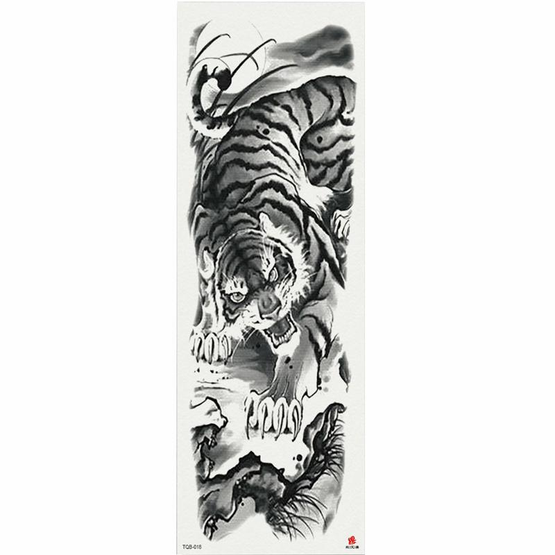 1 Peça de Pintura Chinesa Tigre Tatuagem Temporária Etiqueta Com Braço Body Art Grande Manga Grande Falso Etiqueta Do Tatuagem