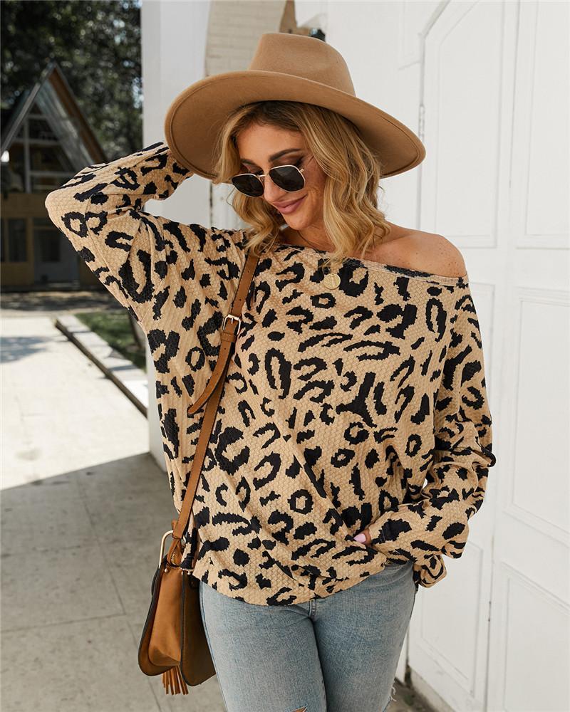 Le nuove donne di stile Maglieria Moda leopardo rivestite Pullover Maglieria lunga casuale Maglieria maniche Abbigliamento Donna Natural Color