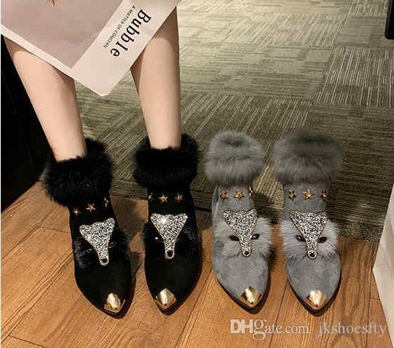 Spedizione gratuita moda in pelle di alta qualità 2019 nuovo arrivo caldo di vendita scarponi da neve delle donne del tacco Chunky comodi della signora Boots WBS 054