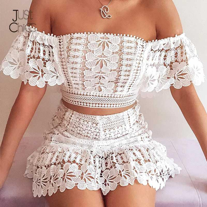 Justchicc White ruffles Lace Two Piece Set Summer Crop Top And Skirt Sexy Matching Set Sashes Club Party 2 Piece Women Suit