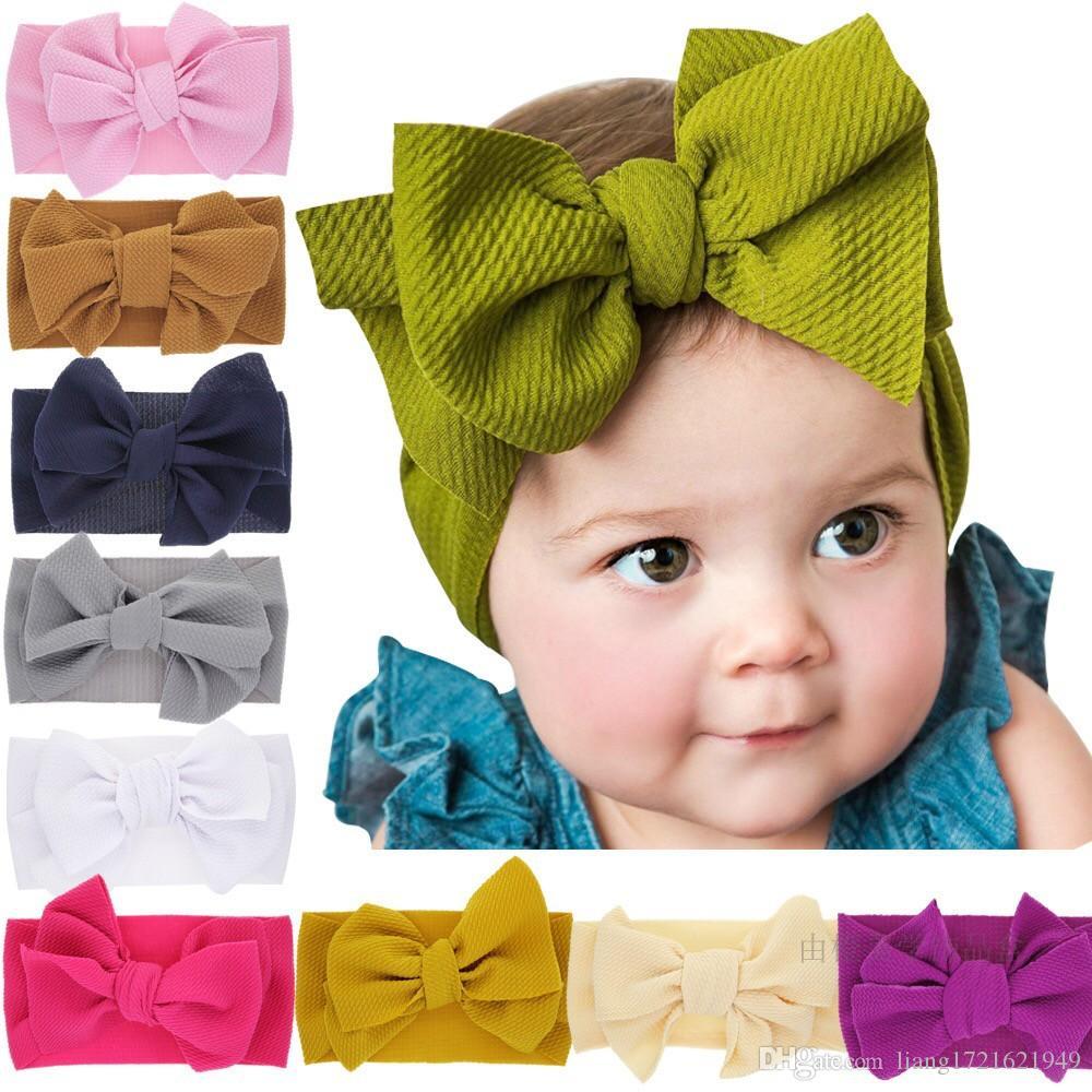 10 Farben Europäische und amerikanische populäre Modelle Neugeborene Normallackbogen-Knotenseil Babykaninchenohren verbreiterten das elastische Stirnband der Kinder
