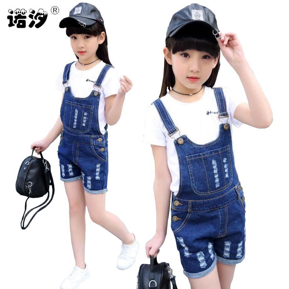 4-15 Y Kızlar Denim tulumları İlkbahar Yaz Moda Yeni Çocuk Giyim Casual Çocuk askı pantolon Katı Kızlar kısa kot tulumlar