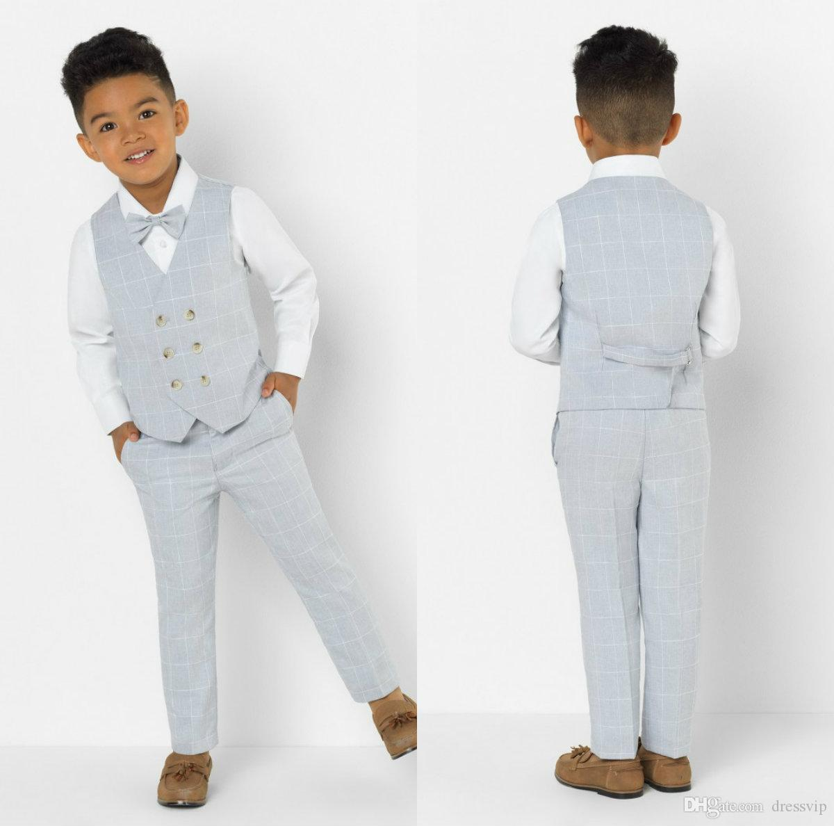 Little Boy Formal Suits Dinner Tuxedos for Beach Wedding Boy Groomsmen Kids Children For Party Prom Suit Formal Wear (Vest+Pants)