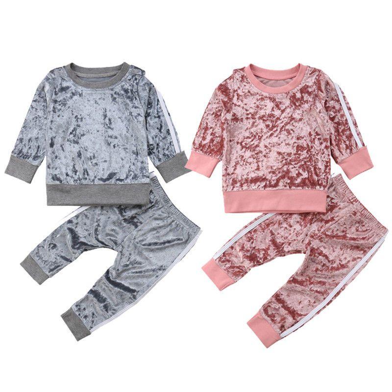 Baby Kids Rapazes Meninas listrado Sports terno de veludo Outono Primavera Outfits Set