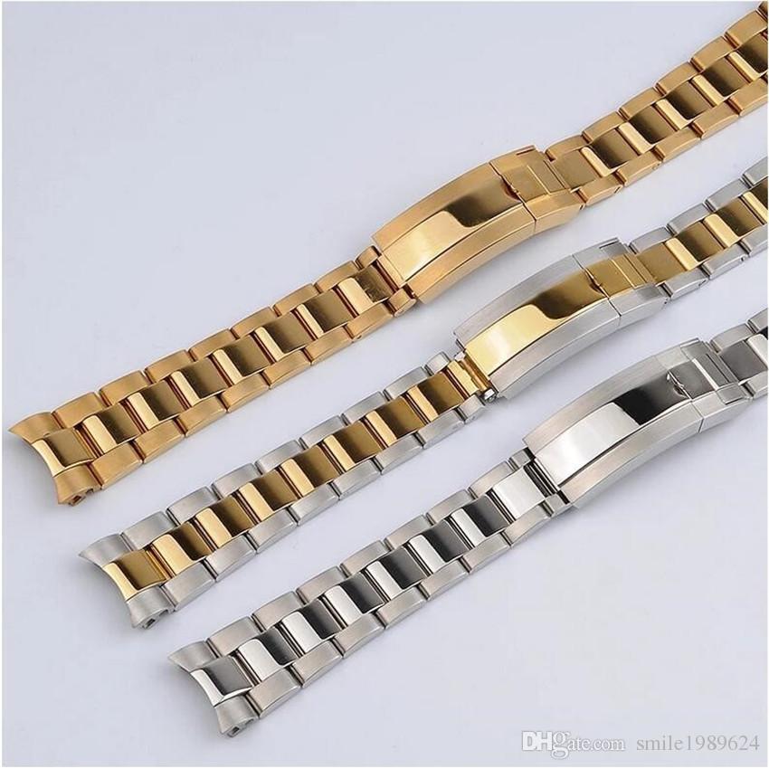 Correa de reloj 20 mm Correa de reloj Correa de acero inoxidable 316L Accesorios de reloj de plata de extremo curvo Hombre Correa