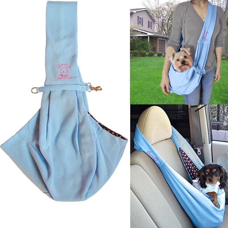 montón portadores del perro manos libres reversible pequeño perro gato portador de la honda bolsa de asas del viaje cómodo suave de doble cara de la bolsa de hombro Carry H ...