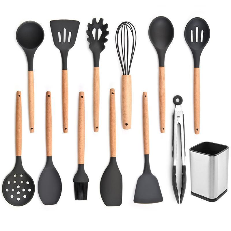 Silicone conjunto de cozinha cozinhar ferramentas pote pá colher alta temperatura punho de madeira resistente ao calor pá colher de cozinha