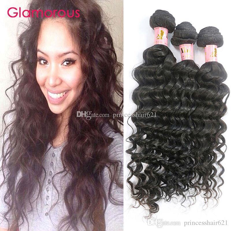 Glamoroso el cabello humano de Malasia teje 3 paquetes de onda profunda ola ondulada extensiones de cabello 12 pulgadas a 34 pulgadas de cabello virgen peruano indio brasileño