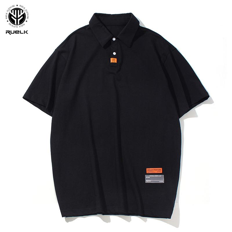 Men's Polos RUELK Short Sleeve 2021 Summer Fashion Casual Classic Solid Color T-shirt Loose Cotton Shirt Japanese Clothing