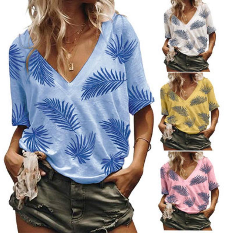 Womens T-shirt del progettista delle donne di marca della stampa Ladys superiori casuali del V-Collo dei vestiti dei nuovi Moda Tendenza magliette 2020 nuovo all'ingrosso superiore