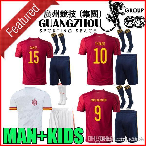 2020 niños adultas 2021 España Jersey del fútbol 20 21 camiseta de fútbol Ramos SERGIO A.INIESTA Paco Alcácer Thiago camisas europeos de fútbol taza