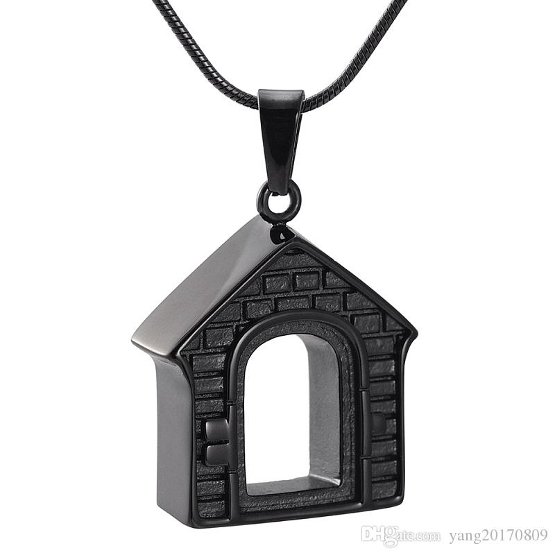 IJD9886 Home Souvenir Jewelry HOUSE Stainless Steel Commemorative Jewelry Hold Cremation Ashes Necklace Keepsake Jewelry