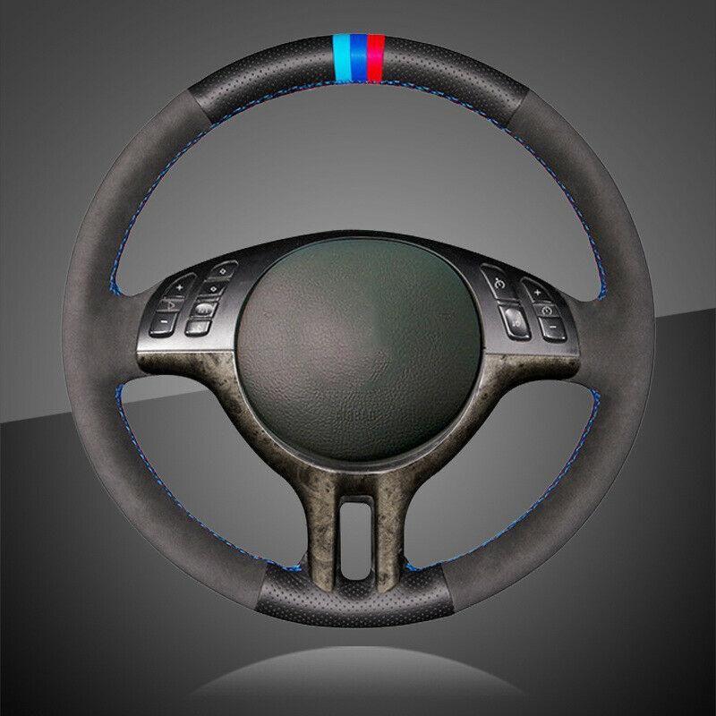 اصطناعية جلد أسود السيارة جديلة على المقود تغطية عجلة القيادة لسيارات BMW E39 E46 325I