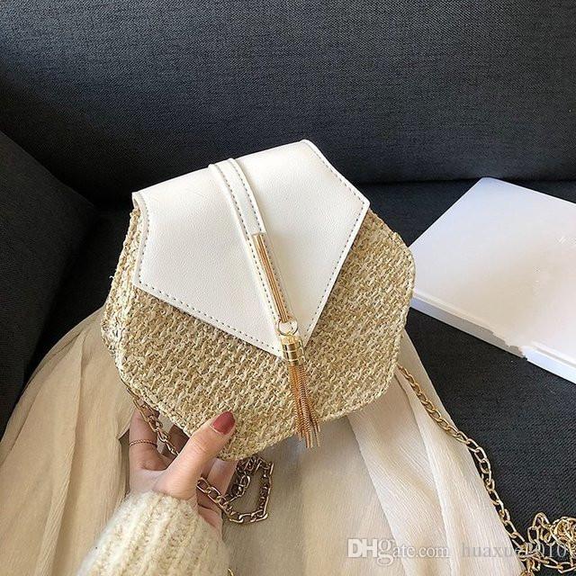 Hexagon Estilo Straw + couro bolsa das mulheres Verão Rattan Saco Handmade Woven Praia Círculo Bohemia Shoulder Bag Nova Moda