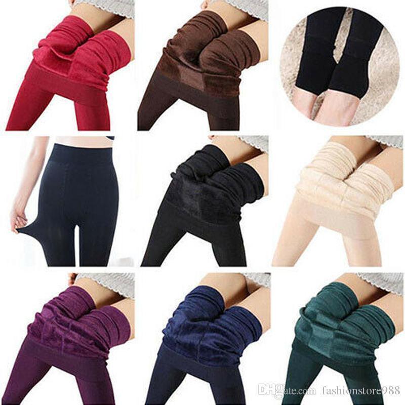 Las mujeres de cintura alta Otoño Invierno Cálido térmica gruesa lana forrada polainas delgadas pantalones de estiramiento medias de las medias