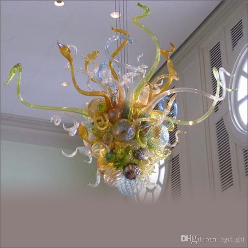 2019 New Arrival New Style Well Designed Home Chandelier Lighting French Style Flower Designed Blown Glass Chain Pendant Lamps