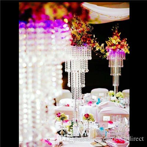 "Candelabros de 5 niveles Centro de mesa Decoración de mesa de boda Soporte de flores con cuentas de cristal - 39 ""Altura plateada"