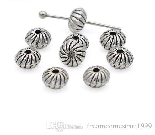 300 قطع أثرية فضية مطلي الخرز فضفاض الخرز لصنع سوار مجوهرات اكسسوارات diy اليدوية الحرفية 6x4 ملليمتر