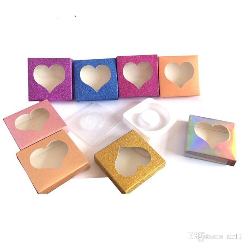 200pcs 3D Vison Cils amour forme de l'emballage Boîtes Faux Cils emballages vides Cils Box Case Lashes Boîte d'emballage papier