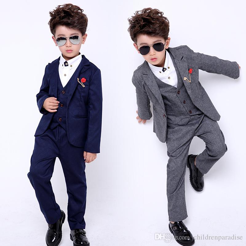 3pcs Kids Boy Plaids Suit Coat Vest Pants Wedding Party Slim Jackets Outfit Warm