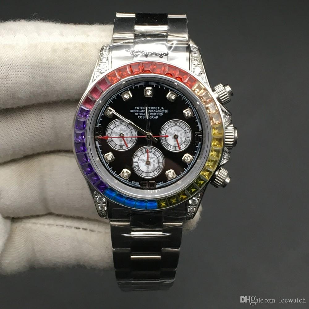 3 Farben Hohe Qualität Männer Uhr Mechanische Automatische Armbanduhr Stahl Armband Full Diamond Lünette Uhren 40mm