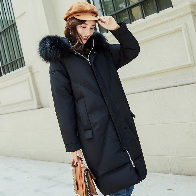 2018 겨울 새로운 너구리 모피 칼라 후드 다운 코트 여성 긴 디자인 화이트 오리 다운 코트