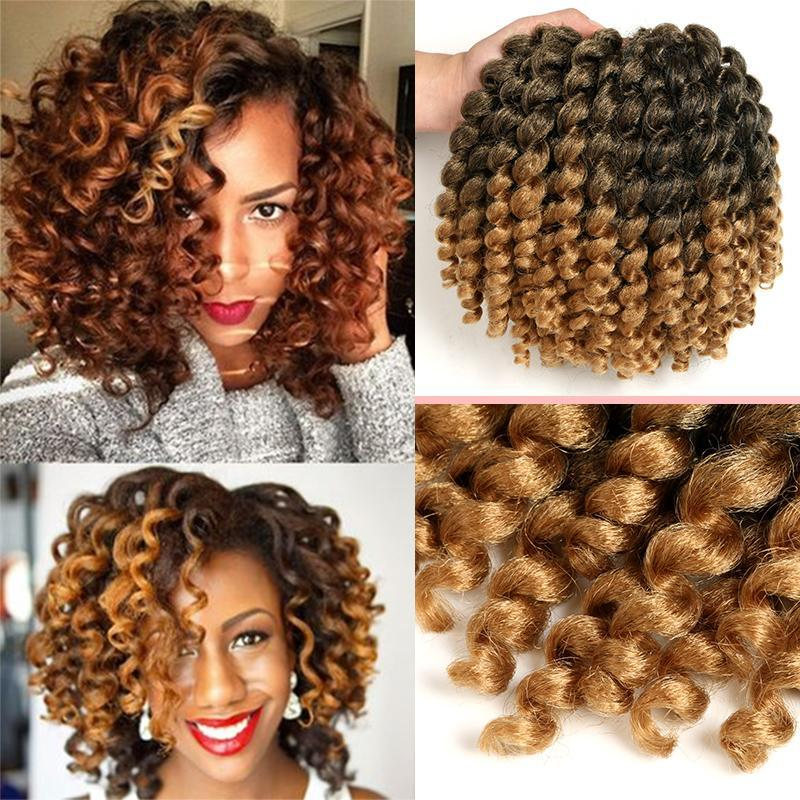 Ombre Jumpy Wand Curl Crochet Braids 22 Roots Jamaican Bounce Synthetic Crochet Braiding Twist Hair Extension for Black Women