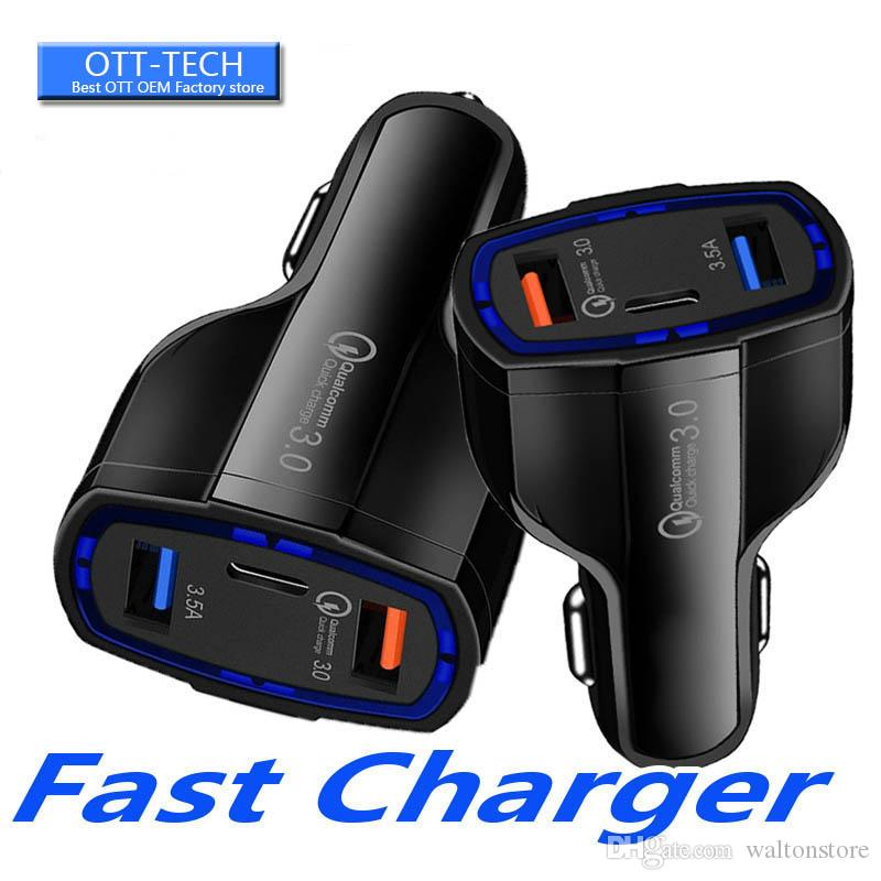 Best seller QC3.0 USB car charger quick charging Type C Mobile Phone Charger 7A Fast Charge for Samsung S10 for 7 8 Plus X XS MAx