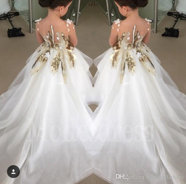 Gold Appliques Sequins Ball Gown Flower Girls Dresses For Wedding With Long Train Girls Pageant Dresses For Little Girls