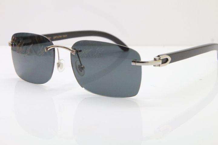 Lüks-Tedarikçiler Toptan Sıcak Çerçevesiz 8200759 tasarımcı Güneş gözlükleri erkekler klasik CAM Siyah Manda Boynuzu Güneş Gözlüğü Çerçeve Boyutu: 60-18-140mm