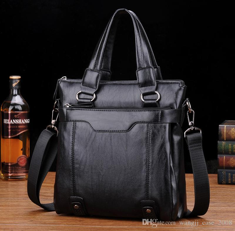 Men Briefcases Leather Handbags Computer Laptop Bag Vintage Laptop Briefcase Male Computer Shoulder Bags Waterproof Office Portable Bag fash