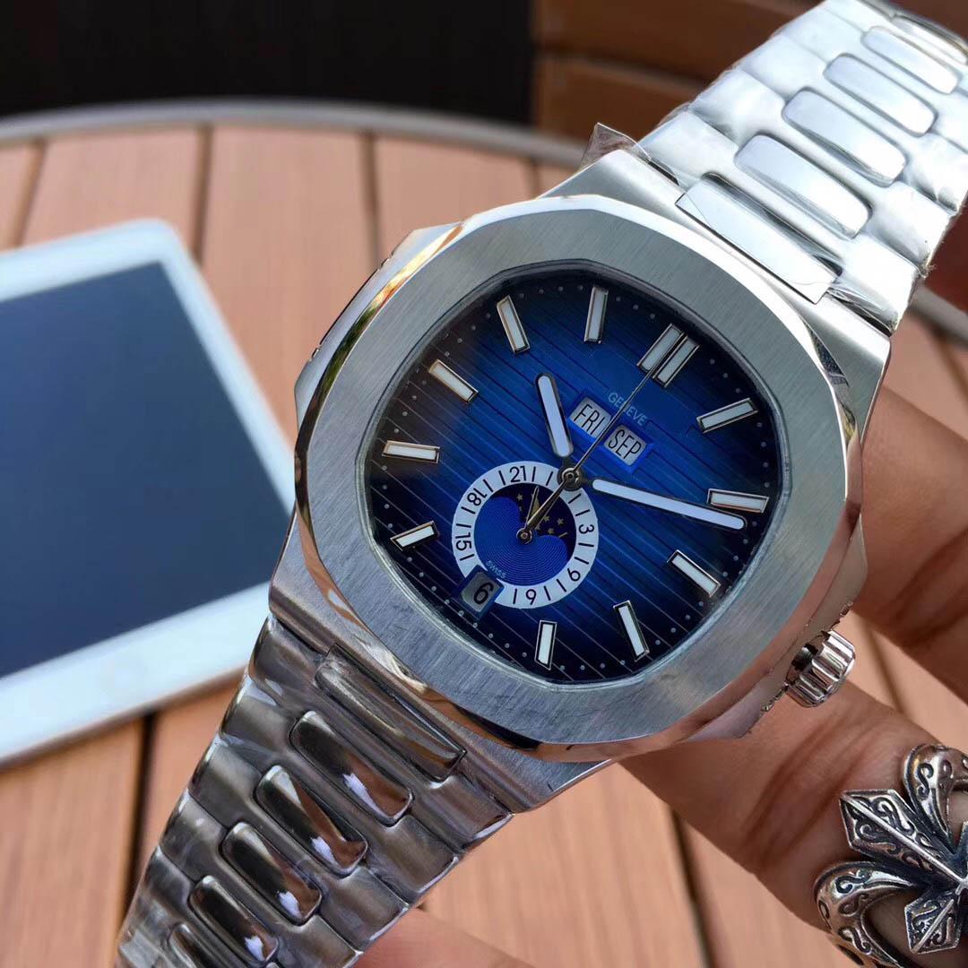 남성 남성 자동 높은 품질의 시계 실버 스트랩 블루 스테인레스 망 기계 시계 방수 슈퍼 발광 시계
