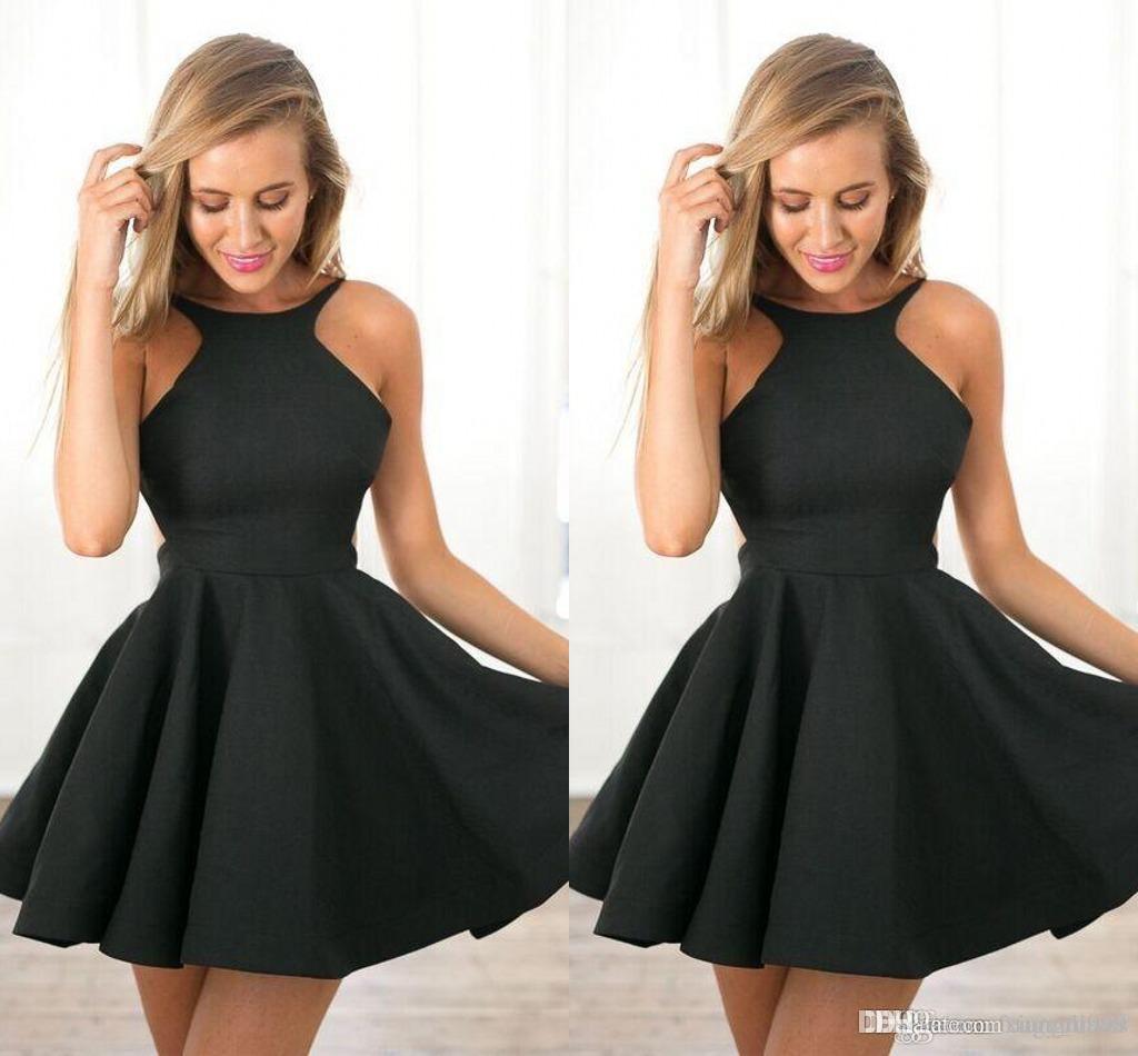 Compre Vestidos De Cóctel Cortos Sencillos Pequeños Y Negros Joya Pura Una Línea Vestidos De Fiesta Pequeños De Satén Vestidos De Fiesta De Noche