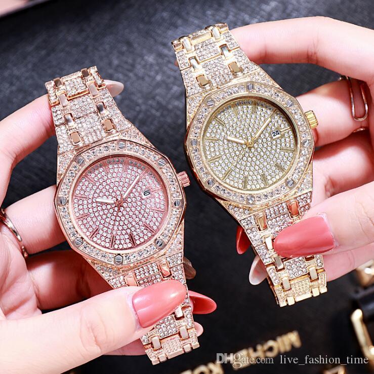 Женщины Часы из нержавеющей стали Изысканный Алмазный Часы Женщины Rhinestone Марка вскользь кварцевые часы наручные часы Подарки для женщин Relojes Mujer