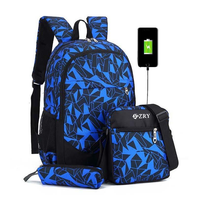 Student School Backpack Teenagers Night Shoulder Book Bag Boys Girls Blue Pack