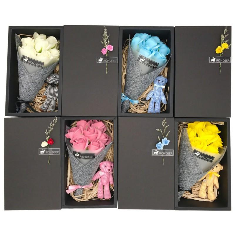 Yapay Şenlikli Parti Yedi Sabun Çiçek Hediye Kutusu Valentine \\\ Günü Hediye Ayı Küçük Buket Düğün Ev Dekorasyonu Malzemeleri