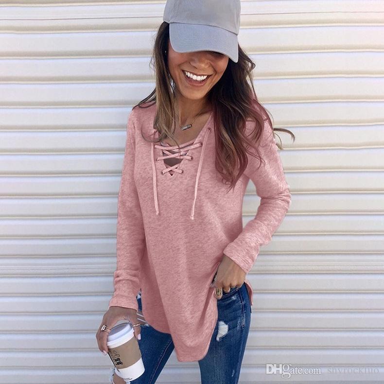 Herbst-T-Shirts der Frauen beiläufigen Normallack V-Ausschnitts Gebunden Bandbreite lose T-Shirts beiläufige Damen Tops Art und Weise schnürt Kleidung T-Shirt