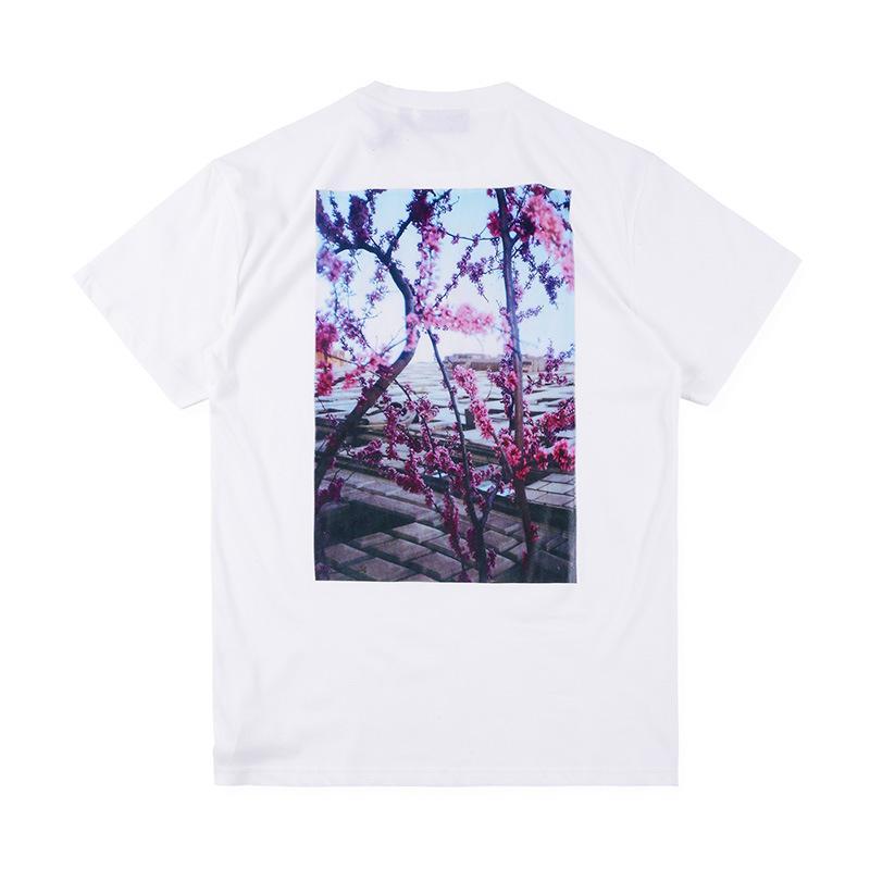 ile Erkek Tişörtü Essentials Çiçek Kısa Kollu Yuvarlak Yaka Moda Katı Tişörtü 2 Renkler Boyut S-XLds07