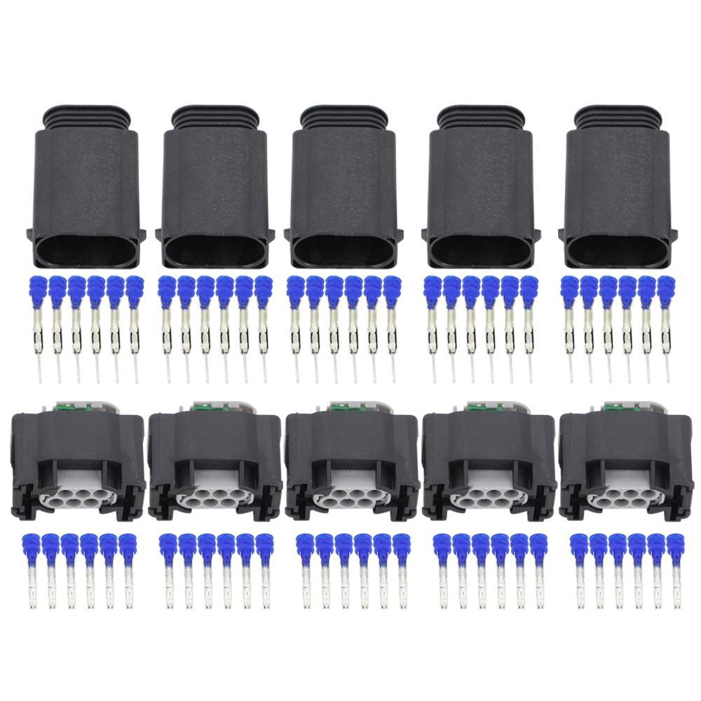 5 Sets 6 Pin Fahrzeugdrosselklappensensor-Anschluss Elektronisches Drosselklappenstutzens 1-967616-1 DJ7063Y-0,6-11 / 21