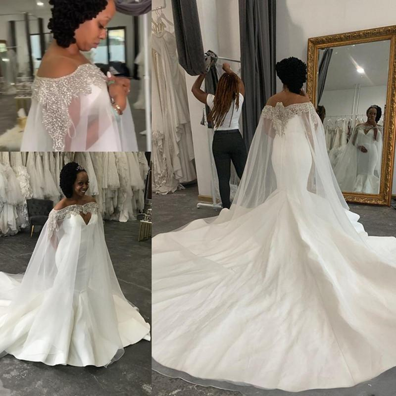 Plus Size Mermaid Sexy Wedding Dresses Beaded Crystals With A Cloak wrap 2020 Arabic Bridal Dresses Stylish Wedding Gowns