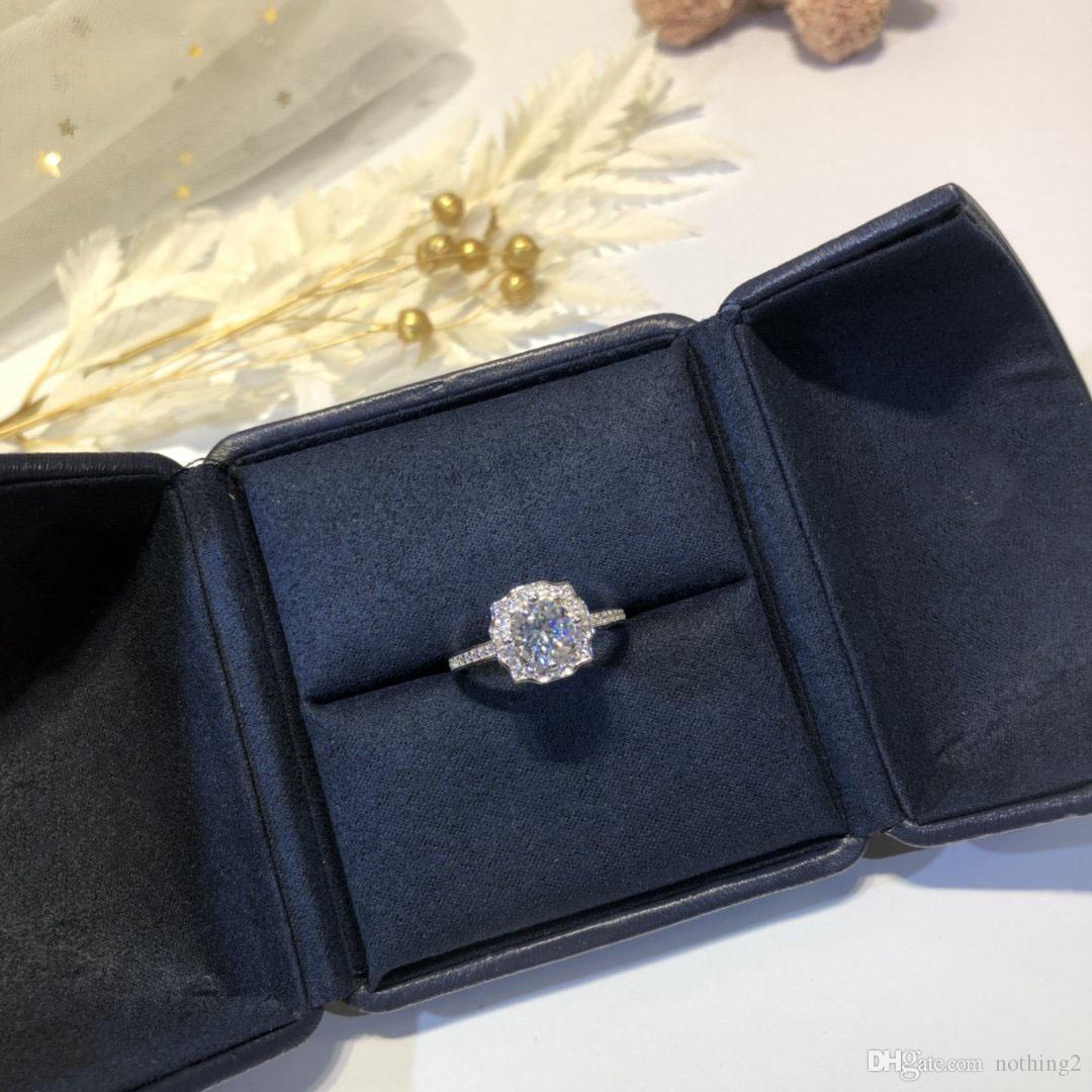 H und W Schmuck Ring 925 Silber Hand besetzten Platz Bohrer Diamant-Blumen-Ring für Frauen-Hochzeitsgeschenk