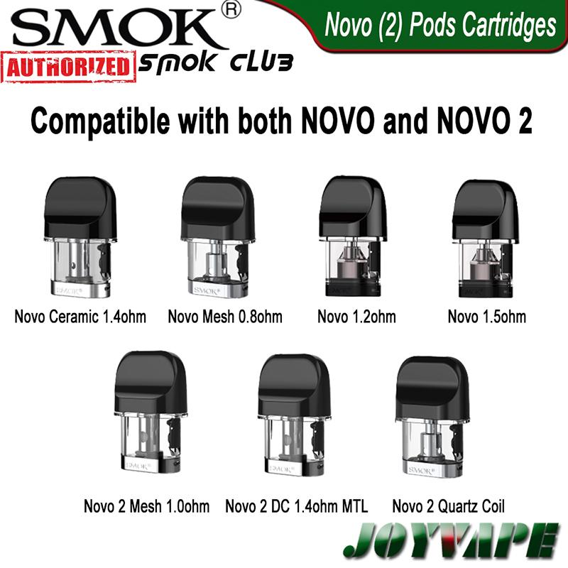 SMOK NOVO 2 NOVO Baccelli cartucce 2ml 1.2 / 1.5ohm Mesh 1.0 / 0.8ohm Ceramica / Quarzt 1.4ohm DC 1.4ohm MTL Pod per NOVO 2 Kit