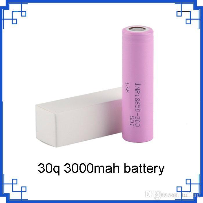 на складе 30q 18650 аккумулятор Аккумулятор с 3000 мАч Высококачественные литиевые аккумуляторные батареи против VTC6 3000 мАч по epacket