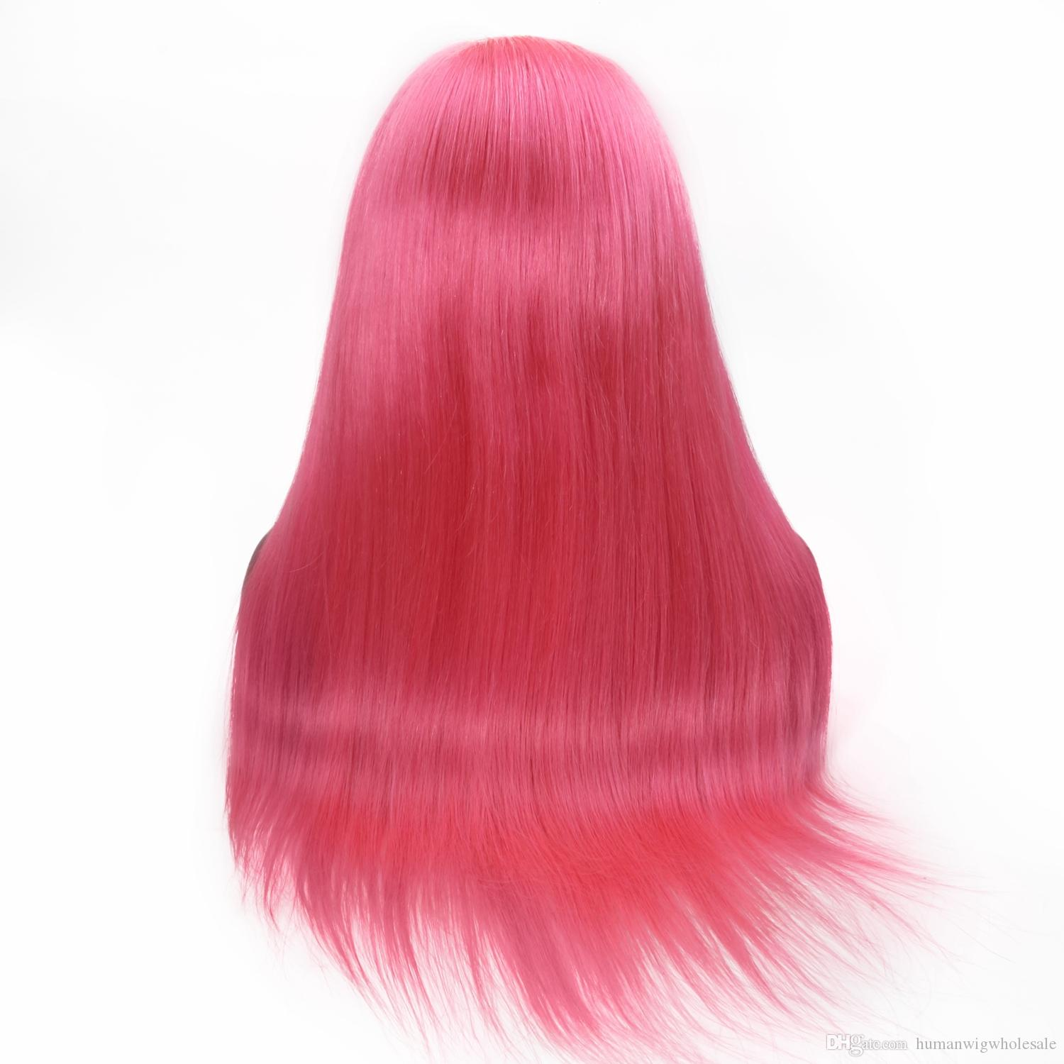 Wholesale Real Human Pink Straight FulllaceWig Selling directly from Factory With Best Quality Tangle free Glueless Wig Via Fast Shipping