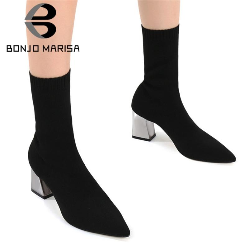 BONJOMARISA Hot Sale Ajouter Fur Sock bottillons Ladies Fashion Party Toe cheville extensible Pointu femmes Bottes 2019 de talons hauts femme