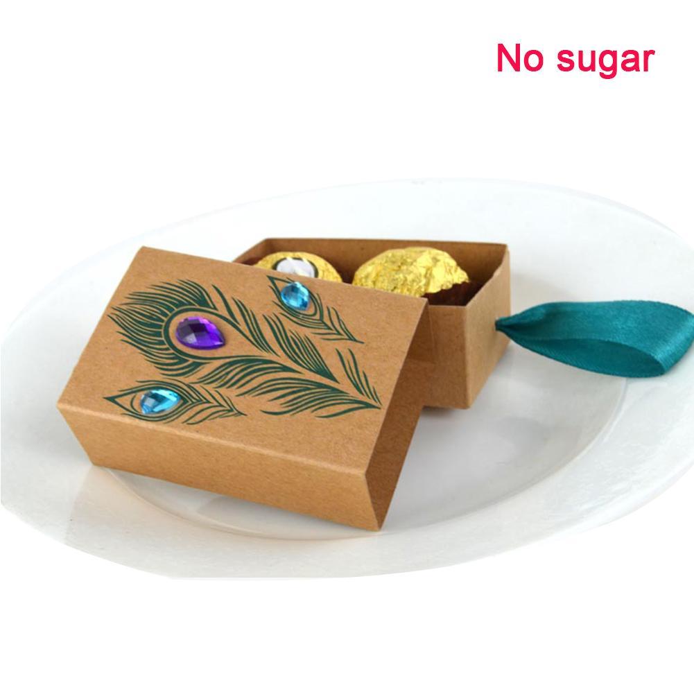 50PCS di compleanno di carta favorisce i bambini del pavone confezione regalo fai da te con il supporto della caramella del nastro bagagli nozze cassetto design