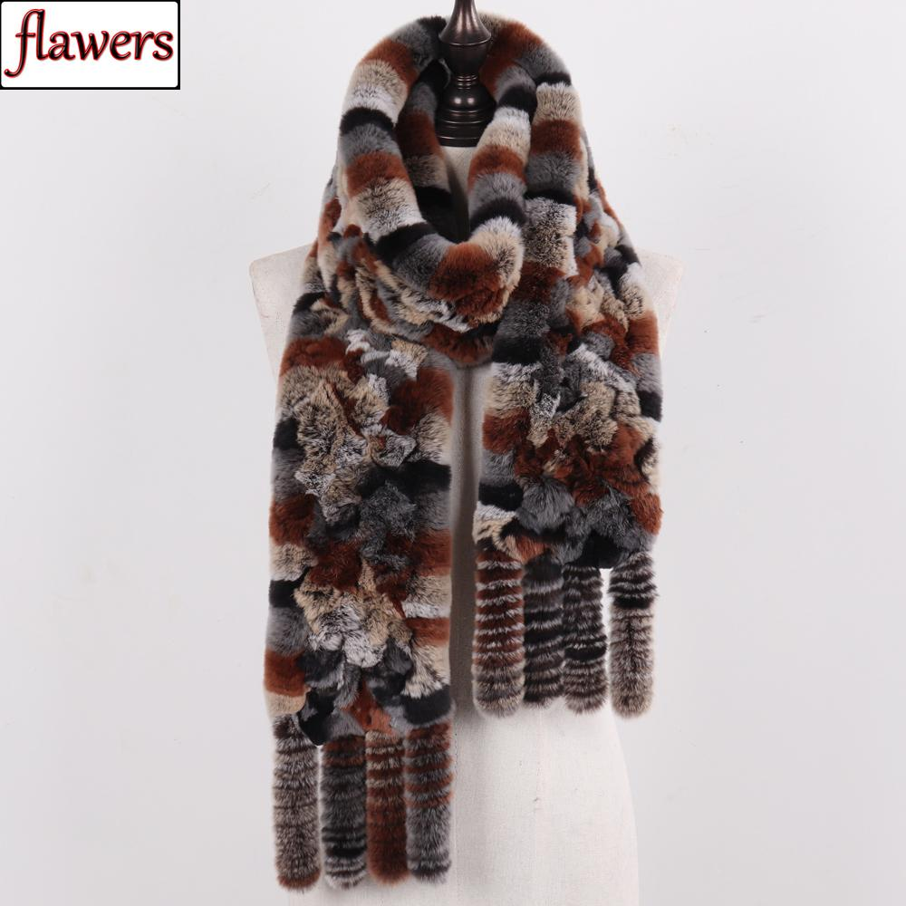 Nueva llegada de Rusia Mujeres Real Rex piel de conejo bufandas invierno de las señoras Natural Rex piel de conejo bufandas de punto borla Piel real Chales T200103