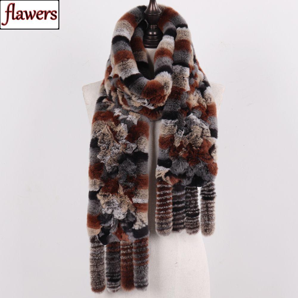 Новое прибытие России Женщины Real Rex Rabbit Fur шарфы женские зима Природные шерсти кролика Rex шарфы Knit кисточкой натурального меха Шали T200103