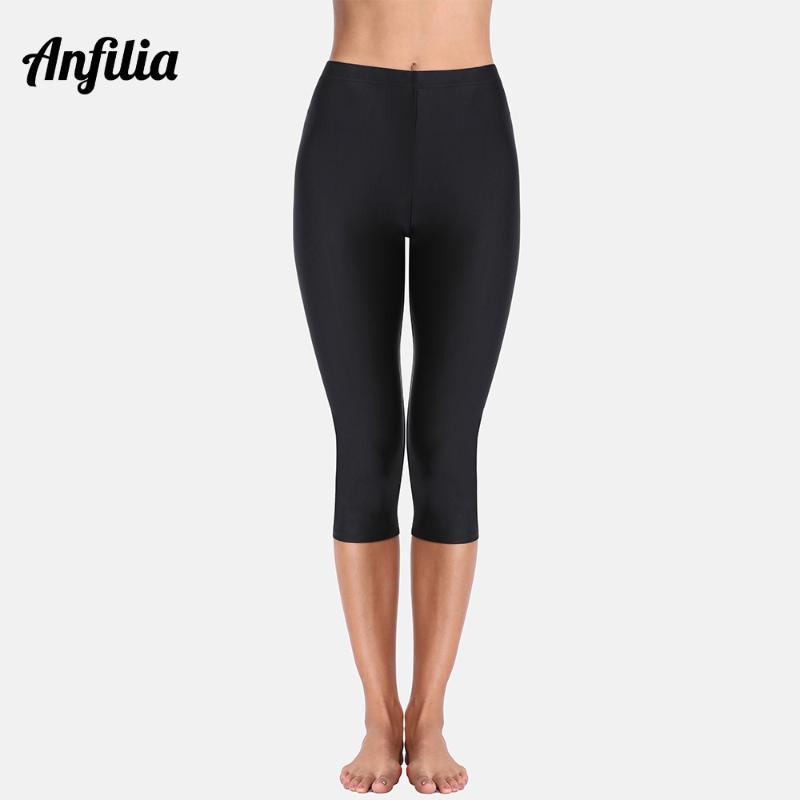 Anfilia Kadınlar Yüksek Bel Yüzme Pantolon Bayan Capris Pantolon Tankini Alt Mayo Boardshort Yüzme Bottoms